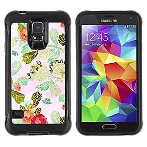Suave TPU Caso Carcasa de Caucho Funda para Samsung Galaxy S5 SM-G900 / Red Flower Watercolor Leaves / STRONG