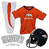 Franklin Sports Deluxe NFL-Style Youth Uniform – NFL Kids Helmet, Jersey, Pants, Chinstrap and Iron on Numbers Included – Football Costume for Boys and Girls, Denver Broncos, Large