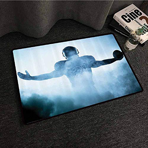 Football Decor Interior Door mat Heroic Shaped Rugby Player Silhouette Shadow Standing in Fog Playground Global Sports Photo Country Home Decor W30 xL39 Blue ()
