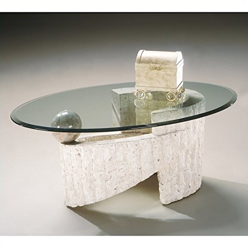 Magnussen Ponte Vedra Oval Cocktail Table with Glass Top - Magnussen Glass Table