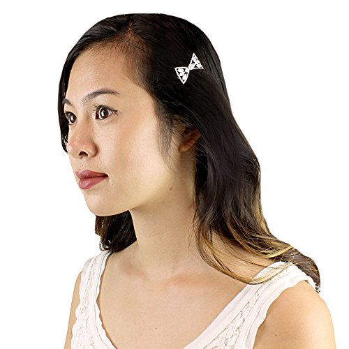 Bow and Faux Pearl Hair Clip Cubic Zirconia, Silver