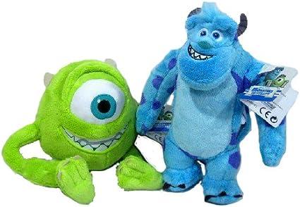 Amazon Com Win Bank Disney Monsters Inc University Plush Movie Doll Set Sully James P Sulley Sullivan And Mike Wazowski Stuffed Toys Games