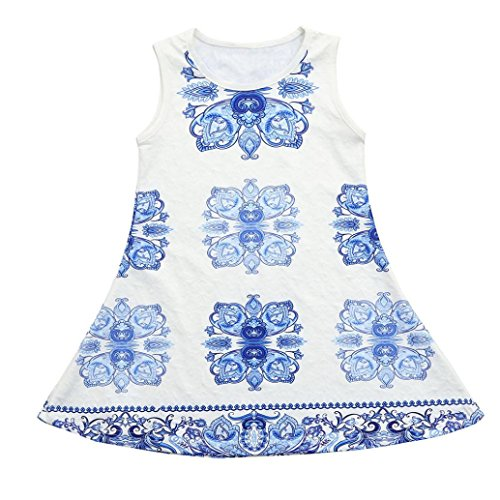vermers Clearance Summer Baby Girls Totem Printing Dresses - Toddler Sleeveless Sundress Clothing(12M, Blue) (Cardigan Portrait Collar)