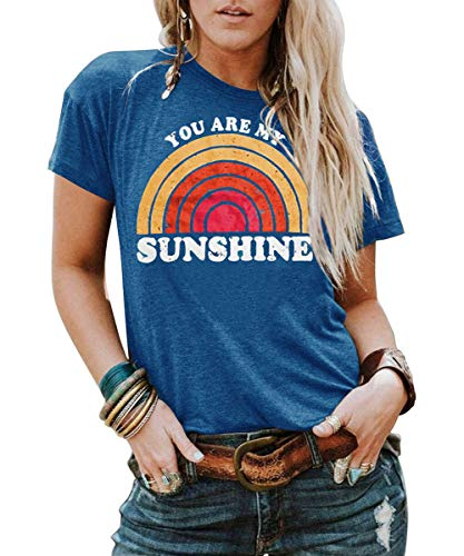 Kaislandy Womens You are My Sunshine T Shirt Short Sleeve Printed Graphic Tees Casual Summer O Neck Tops Shirts Blue