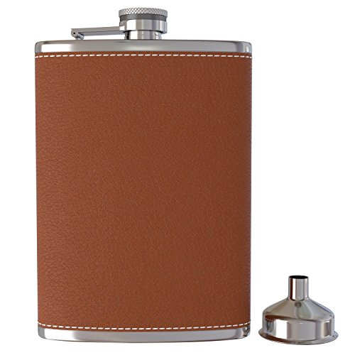 Pocket Hip Flask 8 Oz with Funnel - 18/8 Stainless Steel with Black Leather Wrapped Cover and 100% Leak Proof - Fits any Suit for Discrete Liquor Shot (Graduation Cap Covers)