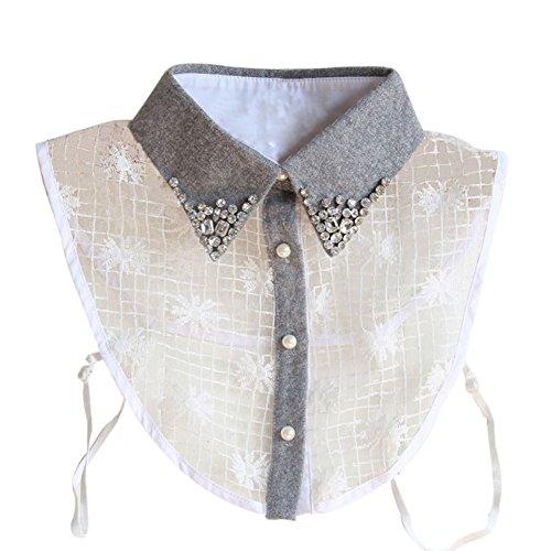 Daxin Women Girl Detachable Lapel lace Floral Shirt Fake False Collar Choker Necklace