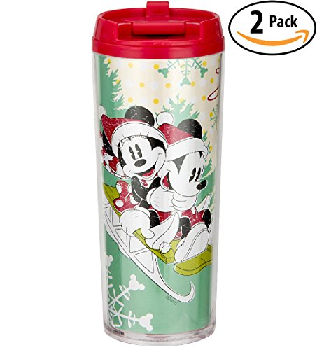 Mickey   Minnie Mouse Christmas  Bpa Free Travel Mug For Kids 2 Pack  Double Wall Insulated 7Oz Tumbler With Liquid Tight  No Spill Lid  Great Holiday   Christmas Gift For Boys   Girls Who Love Disney