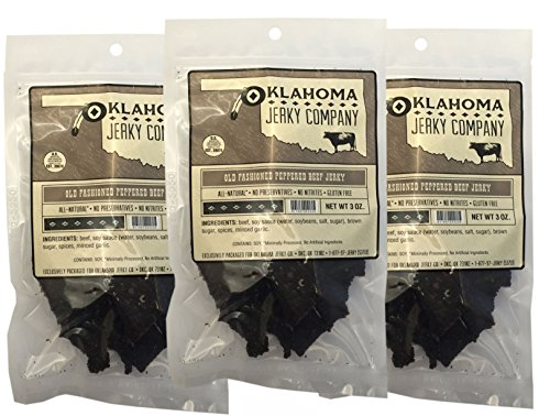 (Old Fashioned Style Gluten Free Peppered Beef Jerky - 3 PACK - No Frills Tough and Dry Style Beef Jerky - All Natural, No Added Preservatives and No Added MSG - 9 total oz.)
