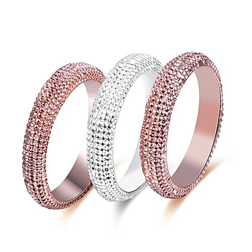 Tidoo Jewelry 3pcs Stainless Steel Rose Gold & Silver Plated Stacking Ring Set Knuckle Midi Rings