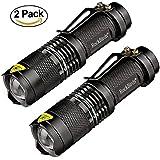 Flashlights, RockBirds 7W LED Mini Tactical Flashlight 300 Lumens with 3 Modes (2 Pack)