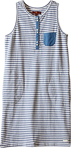7 For All Mankind Kids Girl's Slub Jersey Henley Tank Dress with Chambray (Big Kids) Navy Stripe Dress MD (10 Big Kids) - Henley Tank Dress