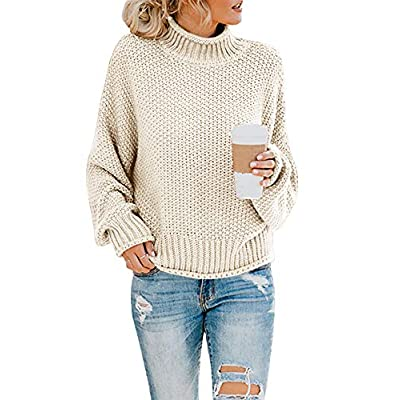 Saodimallsu Womens Turtleneck Oversized Sweaters Batwing Long Sleeve Pullover Loose Chunky Knit Jumper at  Women's Clothing store