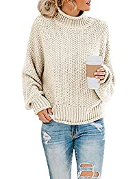Womens Turtleneck Oversized Sweaters Batwing Long Sleeve Pullover Loose Chunky Knit Jumper