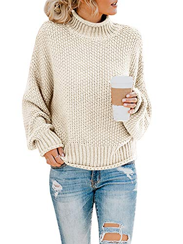 Ashuai Womens Turtleneck Sweaters Oversized Chunky Batwing Long Sleeve Pullover Loose Knitted Jumper Top