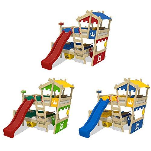 WICKEY Litera CrAzY Castle Cama infantil doble 90x200 Cama alta con tobogán, escalera, techo y somier, azul-amarillo + tobogán azul: Amazon.es: Bricolaje y ...