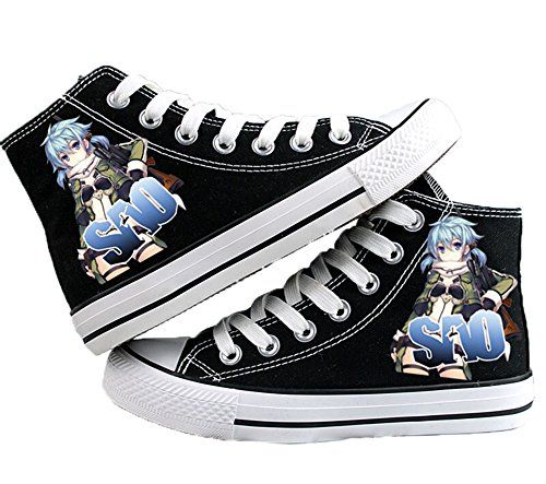 Sword Art Online Zapatos De Lona Cosplay Zapatos Sneakers Blanco / Negro Negro 4