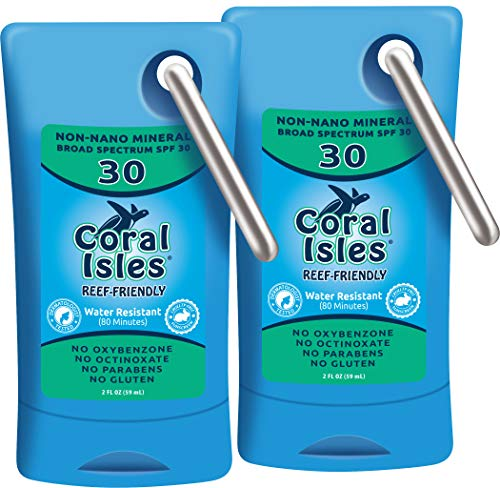 (Mineral SPF 30 Coral Isles 2 oz - Non-Nano Zinc Oxide & Titanium DiOxide - REEF FRIENDLY & Safe Sunscreen Lotion Travel Carabiner, Broad Spectrum, Water Resistant, NO Oxybenzone NO Octinoxate 2-Pack)