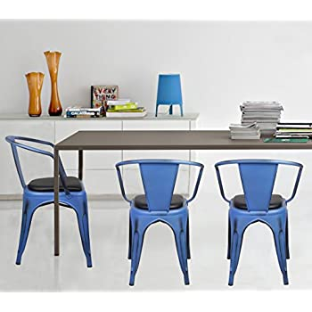 GIA Metal Dining Chairs With BackSET OF 4