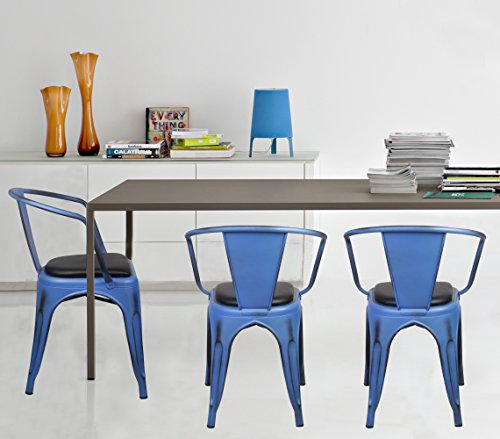 GIA Metal Dining Chairs with Back(SET OF 2) - Black Leather Cushion Seat - Antique Blue - Tolix Style - Loft Appearance - Ready to Use - Weight Capacity 300+ Pounds - Extra Durable and Stackable