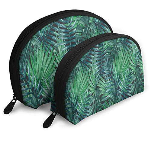 Makeup Bag Palm Tree Leaves Handy Half Moon Toiletry Bags Case For Women