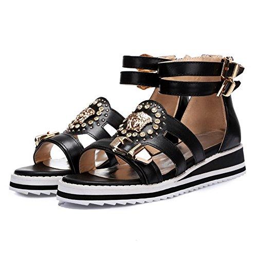 AmoonyFashion Womens Open Toe Low Heels Zipper Solid Sandals with Metal Ornament Black uUeV5U4