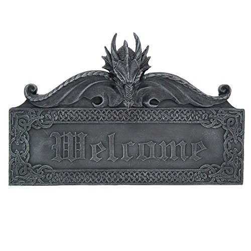 Medieval Gothic Guardian Dragon Welcome Plaque Door Greeting Wall Decorative Sculpture