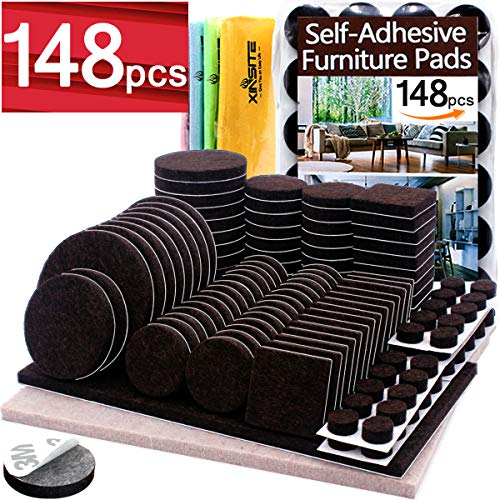 Furniture Pads 148 pcs Self Adhesive Brown Felt Furniture Pads Anti Scratch Furniture Felt Pads Chair Leg Floor Protectors for Chair Legs Feet Protect Hardwood Laminate Floor Assorted Large Small Size