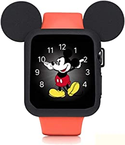 pipigo Cartoon Mouse Ears Watch Case Compatible Apple Watch Case 40MM Series 4 Sport/Edition/Nike iwatch Soft Silicone Protective Cover (Black)