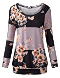 Cestyle Pullover Sweaters for Women,Ladies Fall Casual Long Sleeve Sweatshirts Feminine Loose Fit Banded Bottom Floral Printed Tunic Shirt Striped Boutique Clothes Grey Medium