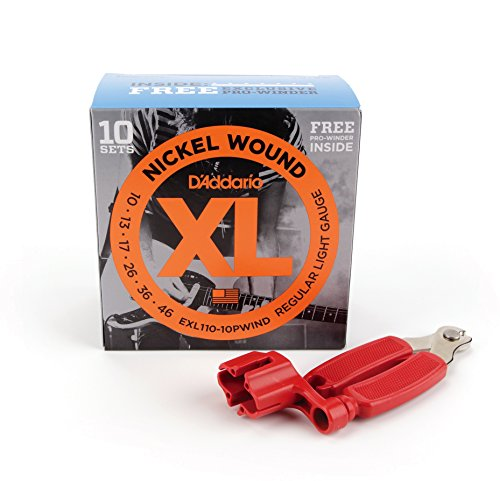 D'Addario EXL110 Bonus 10 Pack with Red Pro Winder, Regular