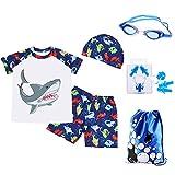 RETON Boys Swimsuit Swimwear Rash Guard Shark Dinosaur Print Sets with Various Swimming Equipment (White Shark, L)