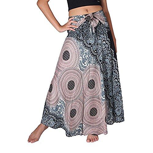 Jupe en Mousseline de Soie Femmes, Sunenjoy Jupe Longue Taille Haute Bohme t Dashiki Imprim Maxi Jupe avec Ceinture Dame pour Plage Fte Casual Cocktail Bleu