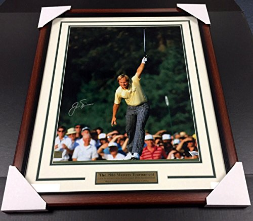 JACK NICKLAUS AUTOGRAPHED 16X20 PHOTO FRAMED 1986 GOLF MASTERS FANATICS HOLO