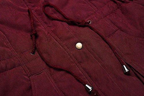 Hiver À long Style Cooshional Blousons Mid Rouge Femmes Fourrure Vin Capuche Chaud Manteau EtSqxTwq8f
