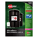 "Avery UltraDuty GHS Chemical Labels for Laser Printers, Waterproof, UV Resistant, 8.5"" x 11"", 50 Pack (60501)"