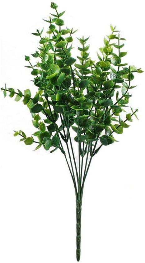 Fauge 4pcs Decoration D Arbustes Artificiels Faux Plastiques Plante Verte Eucalyptus Feuilles D Arbuste Fleur Bourrage Interieur Exterieur Maison Jardin Bureau Veranda Amazon Fr Cuisine Maison