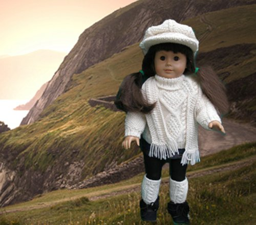 Irish Sweater Outfit Knitting Pattern for 18 Inch Dolls