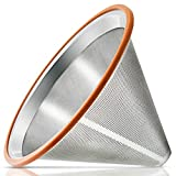 Ambox Reusable Pour Over Coffee Filter, Premium Stainless Steel Over Cup Coffee Maker Cone Drip Coffee Filter Anti-clogging Coffee Dripper Easy to Clean Coffee Strainer for Chemex, Hario, Mason Jar