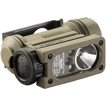 Streamlight 14512 Sidewinder Compact II Military Model Angle Head Flashlight, Head Strap and Helmet Mount Kit, Coyote