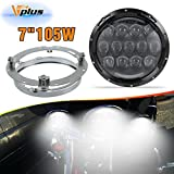 "105W 7"" 7inch Round Black LED Headlights Hi/Lo Beam White DRL / Amber Switchback Lights + Mounting Bracket For Harley Davidsion Yamaha Road Star V Star Chief Classic Springfield (2PCS)"