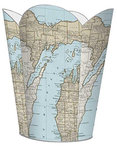 WB2698-Up North Michigan Map Wastepaper (Michigan Wastebasket)