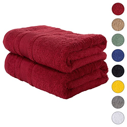 2 PACK Bath Towels Set | Premium Quality Luxury Turkish Cotton Absorbent AND Super Soft – BURGUNDY