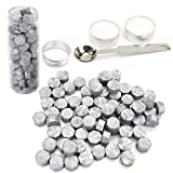 wax sticks for seals silver - Silver Wax Seal Beads, Yoption 150 Pieces Octagon Sealing Wax Sticks Beads with Candle Melting Spoon for Wax Seal Stamp (Silver)