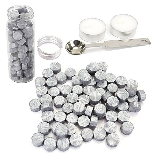 Yoption 140 Pieces Octagon Sealing Wax Sticks Beads with Candle Melting Spoon for Wax Seal Stamp (Silver)