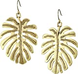 Lucky Brand Womens Leaf Drop Earrings, Gold, One Size