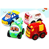 FunBlast Set of 4 Toy Vehicles - Push and Go Crawling Toy, Toy Car for Kids and Children - Fire Truck, Ambulance, Helicopter, Police car Toys Set for Kids