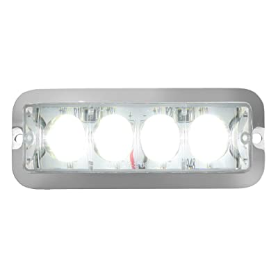 Grand General 76534 White Medium Rectangular 4 LED Strobe Light with Clear Lens: Automotive