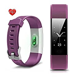 Fitness Tracker, NewYouDirect Heart Rate Monitor Pedometer Activity Tracker Smart Watch Smart WristBand with Sleep Monitor Calorie/Step Counter Bluetooth 4.0 for Android IOS(Purple)