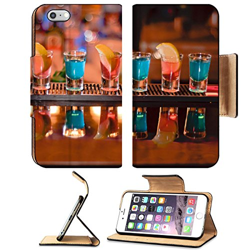 Luxlady Premium Apple iPhone 6 Plus iPhone 6S Plus Flip Pu Leather Wallet Case IMAGE ID 7989476 Row of shots on the bar tequila and blue curacao
