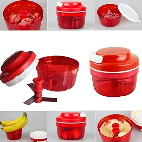 Seasofbeauty Ustensiles de Cuisine Shredder Hachoir à Légumes Hachoir Manuel (Rouge)